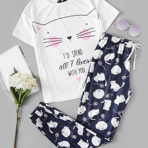Women's Cat Pyjamas Set - My Bengal Boy