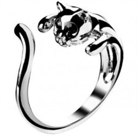 Silver Color Cat Opening Ring - Lunani's Fashion Book | Fashionable and reasonable dresses and shoes!