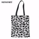 INSTANTARTS Fashion Foldable Shopping Bag Cartoon Cat Dog Puzzle Design Women Linen Tote Bag Casual Beach Travel Shoulder Bag - Lunani's Fashion Book | Fashionable and reasonable dresses and shoes!