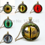 Mix Dragon Eye pendant Necklaces personality cat eyes Pendants colorful photo eye glass dome pendant necklaces for women jewelr - Lunani's Fashion Book | Fashionable and reasonable dresses and shoes!