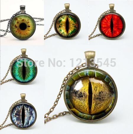 Mix Dragon Eye pendant Necklaces personality cat eyes Pendants colorful photo eye glass dome pendant necklaces for women jewelr - My Bengal Boy