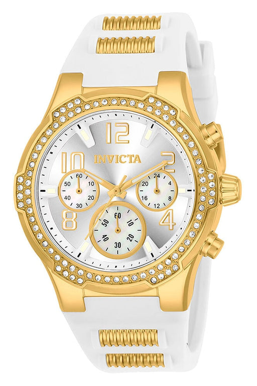 Invicta Blu Womens Gold & White Silicone Watch - 24199