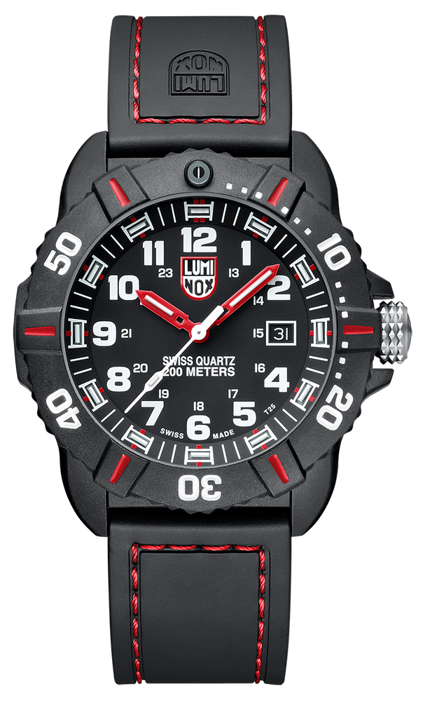 This watch is a unique twist on a distinct Luminox design. The red stitching on the black band pairs beautifully with the red accents on the case and the red hands. The numerals are all emboldened for maximum readability while the day date is subtly in place of the 3 hour marker.