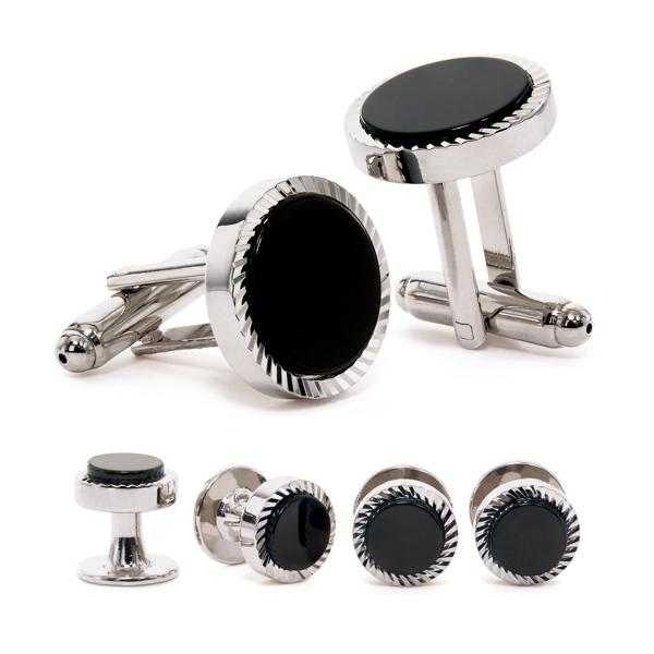 Gear Edge Cuff Link & Stud Set