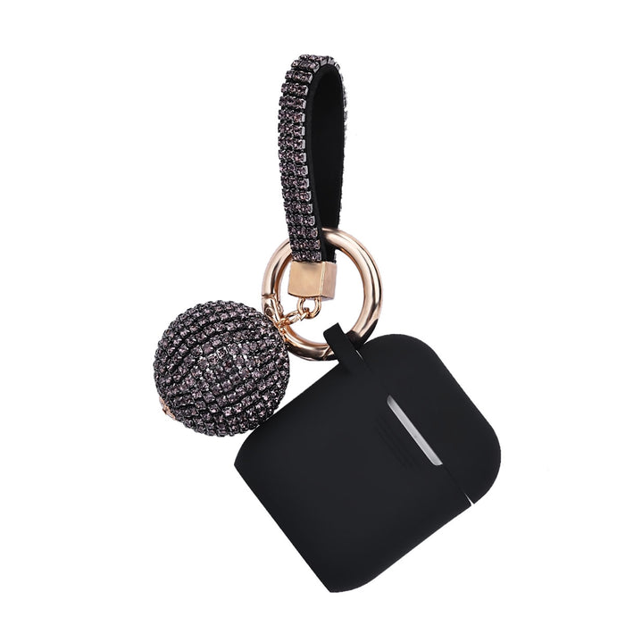Fashion Apple Air Pod Case Protector With Decorative Bling Strap and Ball - BLACK