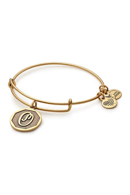 Alex and Ani Initial O Charm Bangle Bracelet - Rafaelian Gold Finish