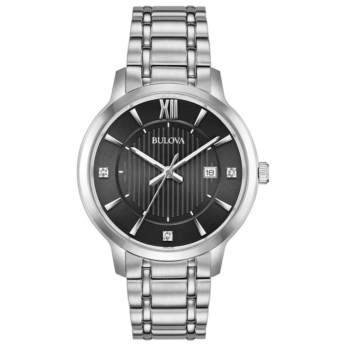 Bulova Silver Tone Watch with Black Dial
