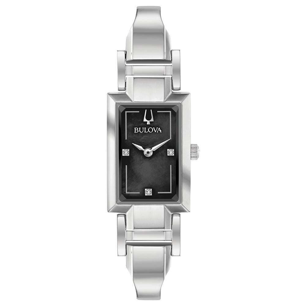 Bulova Ladies' Silver Tone Tank Cuff with Diamond Accent and Black Mother of Pearl Dial