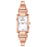 Bulova Ladies' Rose Gold Tone Tank Cuff with Diamond Accent and White Mother of Pearl Dial
