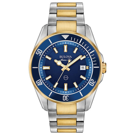 Two Tone Bracelet Sport Watch with Blue Dial