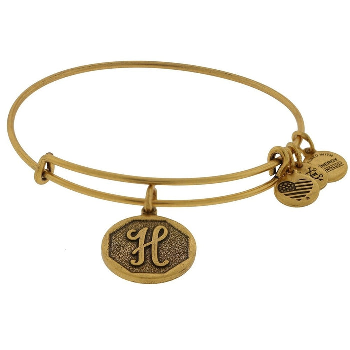 Alex and Ani Initial H Charm Bangle Bracelet - Rafaelian Gold Finish