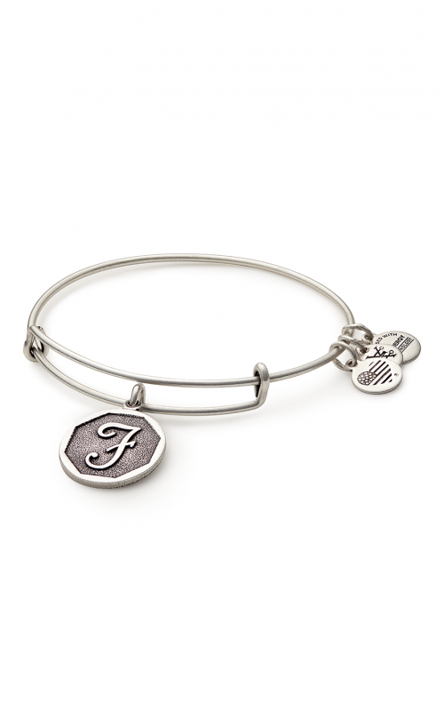 Alex and Ani Initial F Charm Bangle Bracelet - Rafaelian Silver Finish