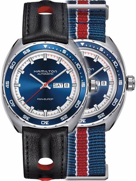 As you can see the classic Hamilton design and patriotic colors signal the American spirit. The day date is clear as it is framed by the navy blue dial and stainless steel case. Also shown is the two available bands, NATO and leather strap.