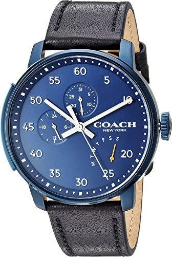 COACH Bleecker Multifunction Blue Dial Black Leather Men's Watch 14602353