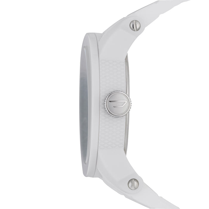 Double Down White Dial Silcone Strap