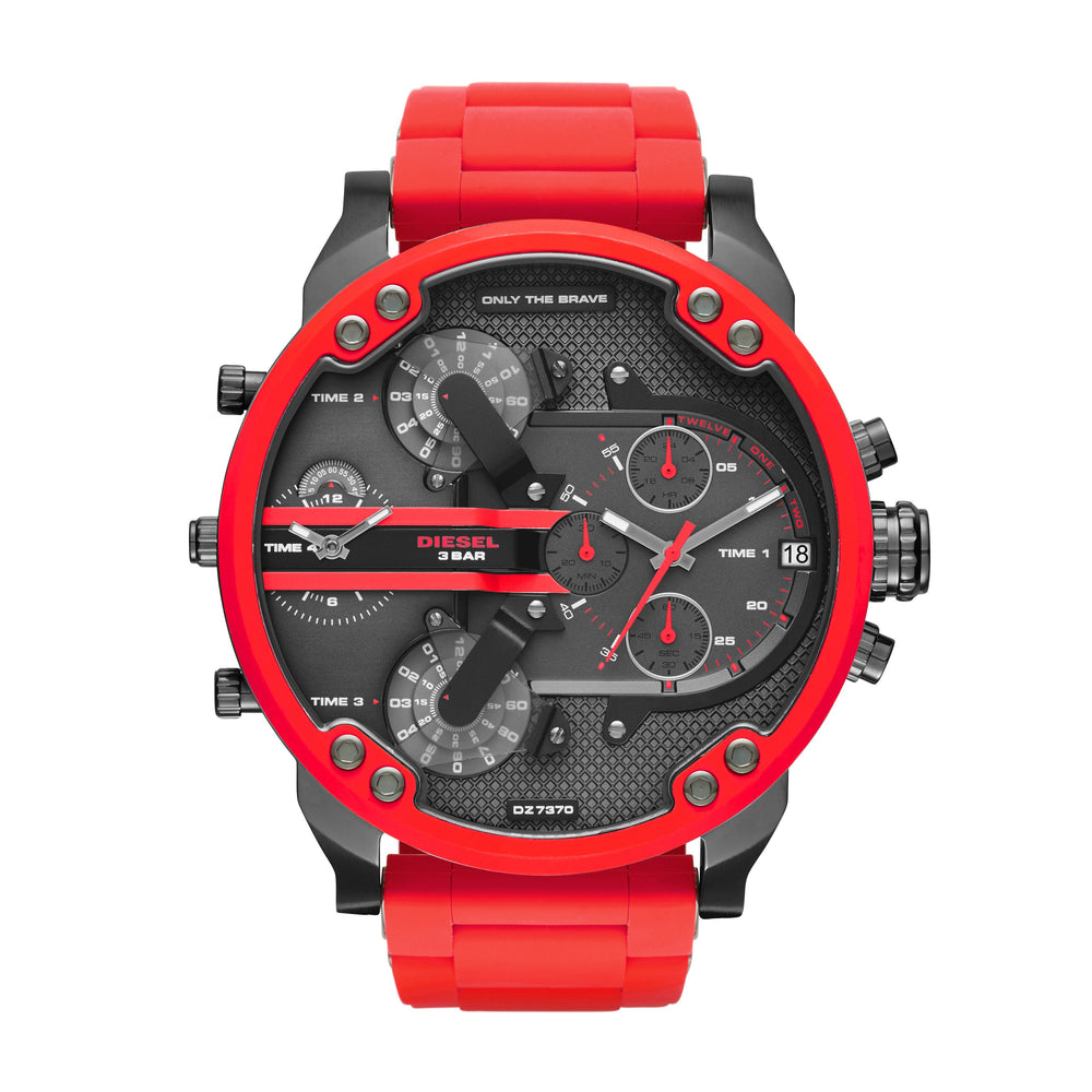 Mr Daddy 2.0 Gray Dial Red Accents Red Silicone Strap