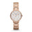 This dainty rose gold Fossil watch is adorned with vertical lines of crystals at intervals along the band as well as around the face of the watch. The sparkle doesn't stop there because on the face of the watch in addition to the rose gold hour numerals the hour markers are crystal lines as well. The white face keeps the light aesthetic of the color scheme and allows for the accents to be easily readable.