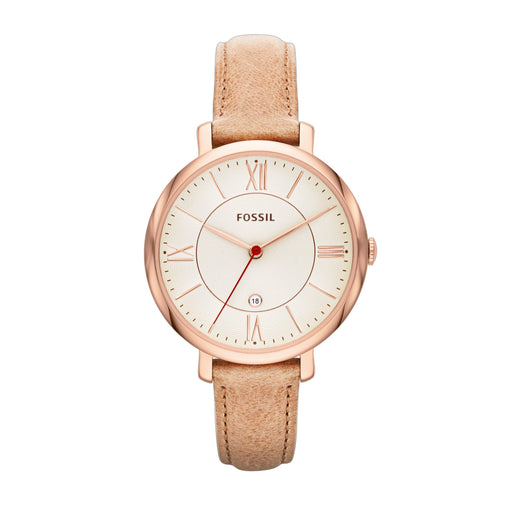 Fossil Jacqueline Cream Dial Rose Case Tan Strap