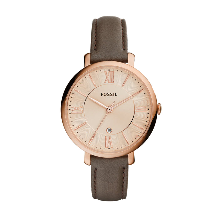 Fossil Jacqueline Rose Dial Rose Case Brown Strap