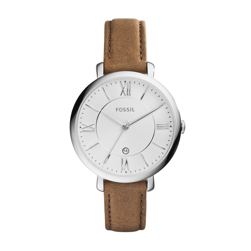 Stainless steel case with a tan leather strap. Fixed stainless steel bezel. Silver dial with silver-tone hands and index hour markers. Roman numerals mark the 3, 6, 9 and 12 o'clock positions. Minute markers around the outer rim. Date display above the 6 o'clock position.