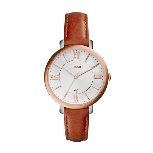 Fossil Jacqueline White Face Rose Indexes Rose Dial Brown Strap