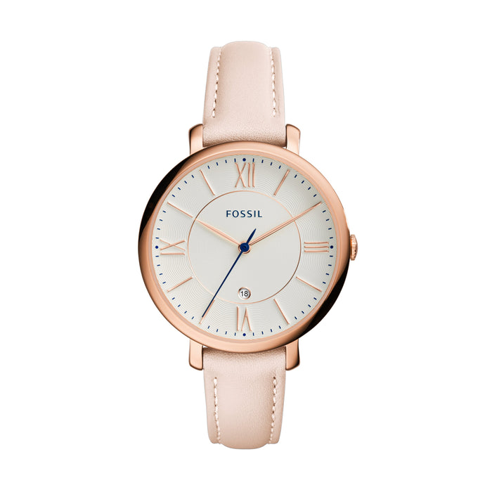 Fossil Jacqueline White Dial Rose Indexes Rose Case Blush Strap