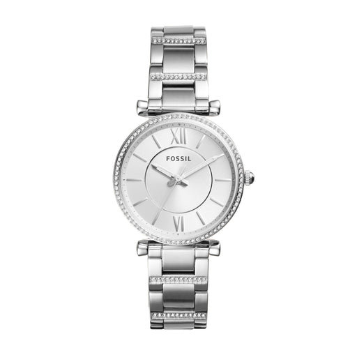 Silver-plated stainless steel case with a silver-plated stainless steel bracelet set with crystals. Fixed silver-plated bezel set with crystals. White dial with silver-tone hands and index hour markers. Roman numerals mark the 3, 6, 9 and 12 o'clock positions. Minute markers around the outer rim. Date display above the 6 o'clock position.