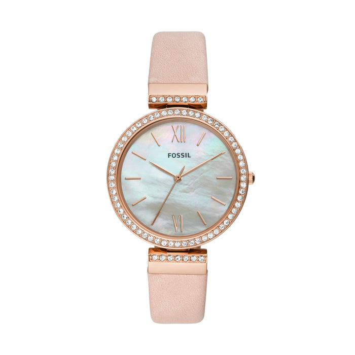 Fossil Madeline MOP Dial Glitz Top Ring Blush Strap