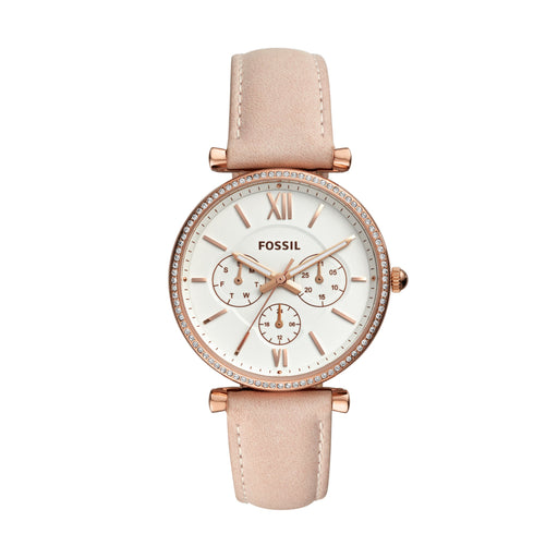 Fossil Carlie Cream Dial Rose Indexes Glitz Top Ring Blush Strap