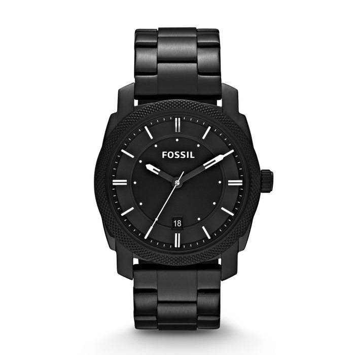 Fossil Machine Black Dial White Indexes Black Bracelet