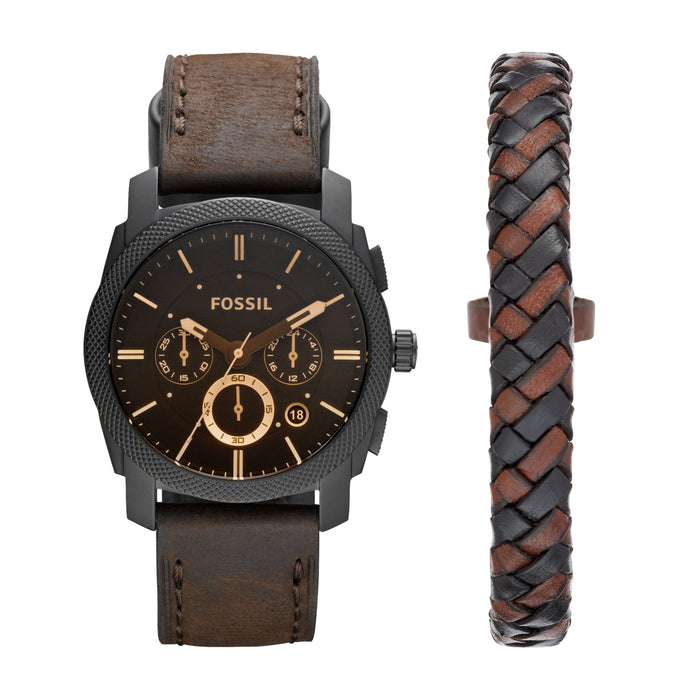 Fossil Machine Black Dial Gold Accents Dark Brown Strap with Brown Bracelet