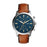 Fossil Townsmen Blue Dial Silver Case White Stitching Brown Strap