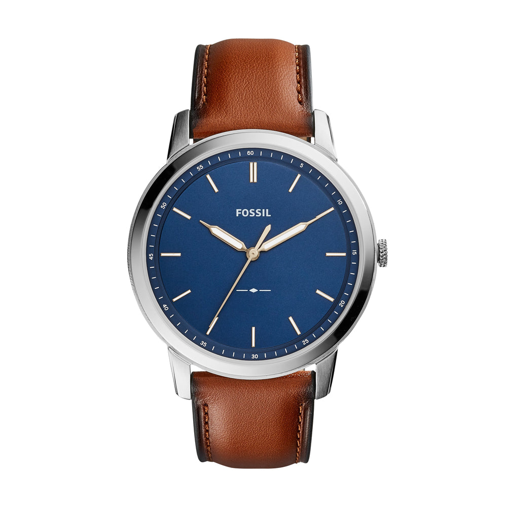 Fossil Minimalist Navy Blue Silver Indexes Brown Strap