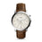 Fossil Neutra Chrono Cream Dial Silver Case Dark Brown Strap