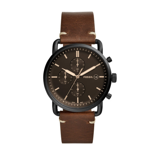 Black-plated stainless steel case with a brown leather strap. Fixed black-plated bezel. Brown dial with luminous gold-tone hands and index hour markers. Minute markers around the outer rim. Dial Type: Analog. Luminescent hands and markers. Date display at the 3 o'clock position. Chronograph - three sub-dials displaying: 60 second, 60 minute and 1/10th of a second.