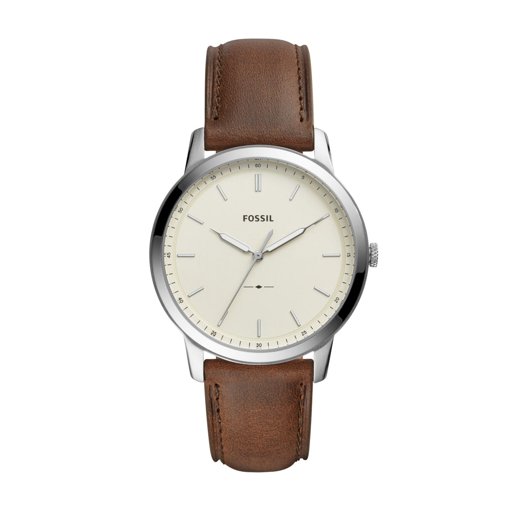 Fossil Minimalist Cream Dial Silver Case Dark Brown Strap