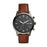 Fossil Townsmen Dark Gray Dial Gunmetal Case Dark Brown Strap