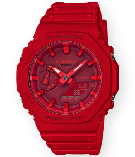 This bold timepiece attracts attention due to its bright red monochrome color, octagonal face, and classic G-Shock style.