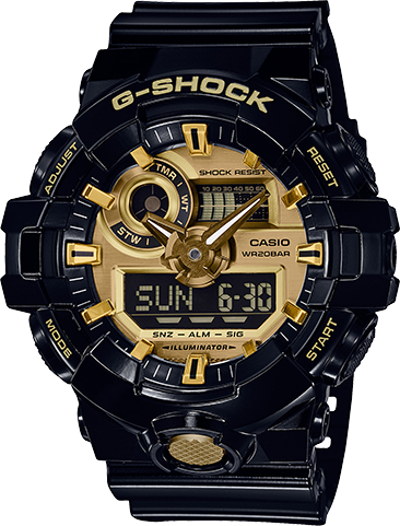 This watch from G-Shock follows suit in constantly setting new standards for timekeeping toughness, hence this updated classic. Model with garish coloring. The base model is the GA-700, which uses original resin molding technology that makes it possible to form analog hands, dial, and hour markers of resin that shines like metal. The black and gold model has an overall shiny finish for a tough and energetic look.