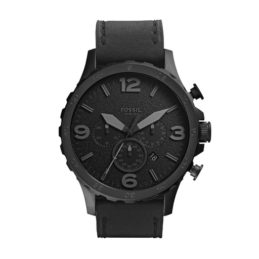 This all black timepiece creates a sophisticated aesthetic while the leather band with visible stitching gives a sense of casualness. The large 3, 6, 9, and 12 numerals are matte black against the textured black face. Although monochrome, the size and shape of the hands and numerals make for easy readability.