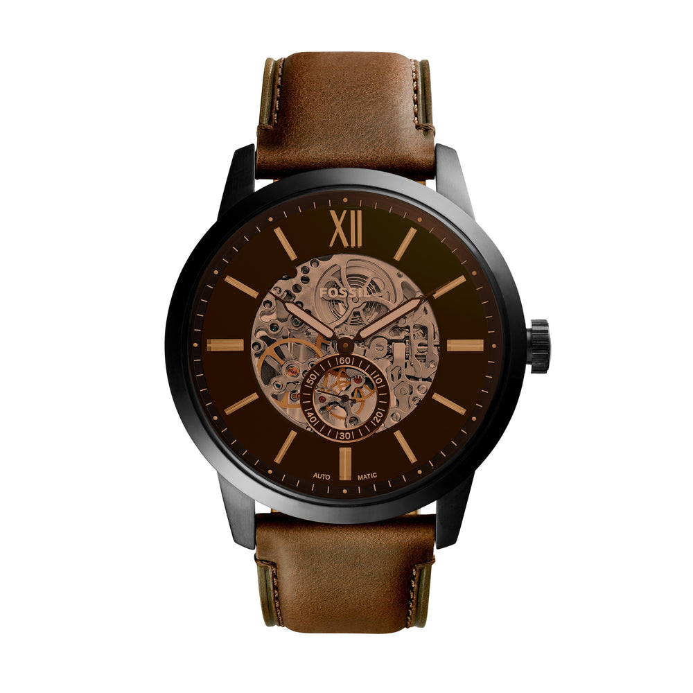 Fossil Townsmen Amber Crystal Center Skeleton Dial Black Case Brown Strap