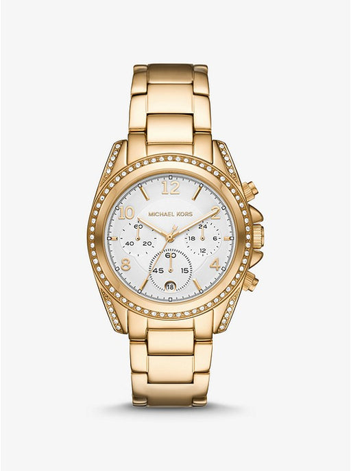 Oversized Blair Pavé Gold Watch MK6762