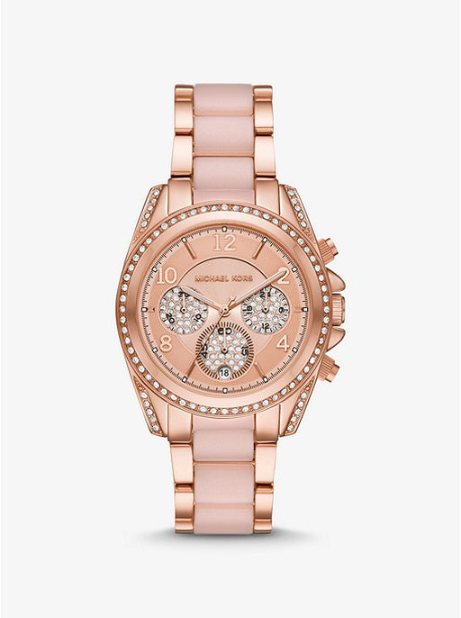 Oversized Blair Pavé Rose Gold Watch MK6763