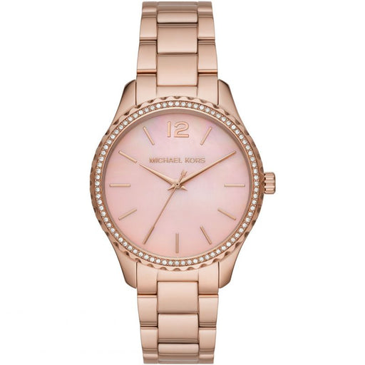Michael Kors Layton Three-Hand Rose Gold-Tone Stainless Steel Watch