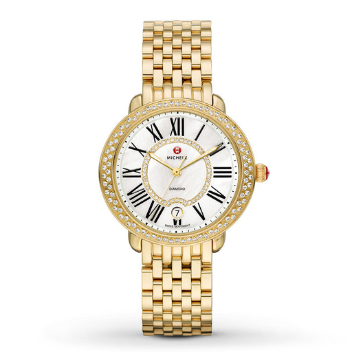Michele Serein Mid Gold Diamond Watch