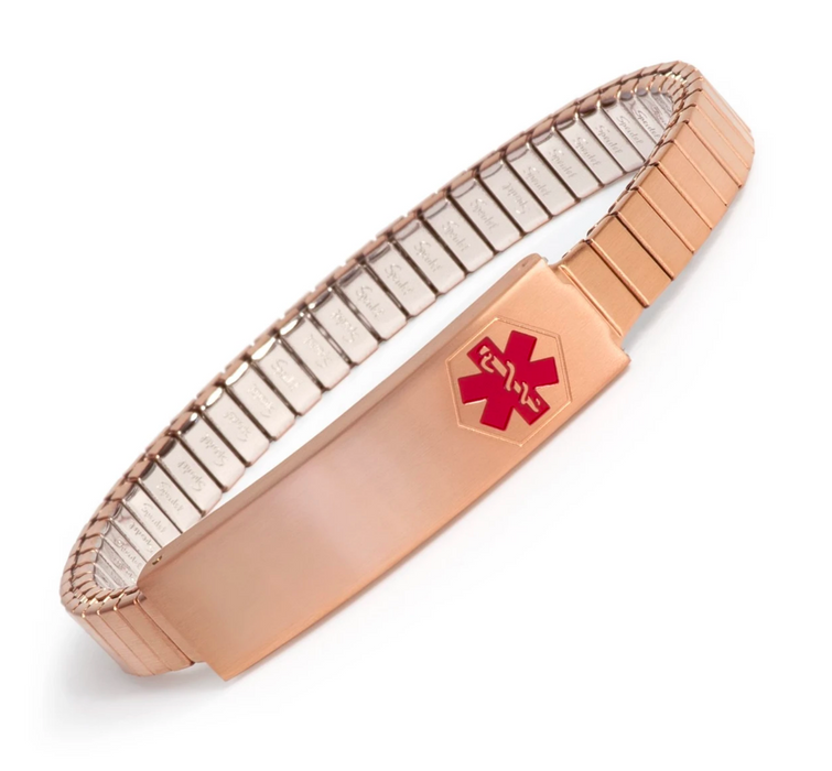 Speidel Ladies' Rose Gold Toned Stainless Steel Medilog ID Bracelet with Compartment Plaque & Expansion Band