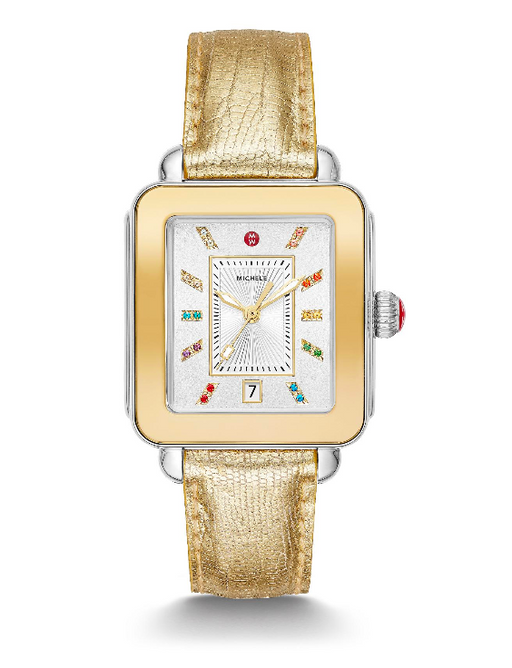 Michele Deco Sport Two-Tone Yellow Gold Tone Gold Lizard Watch