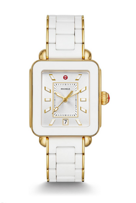 Michele Deco Sport Gold White Wrapped Silicone Watch