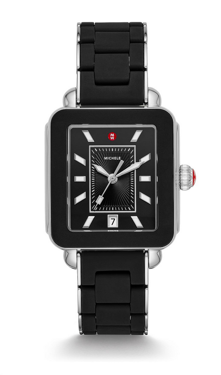 Michele Deco Sport Silver Black Wrapped Silicone Watch