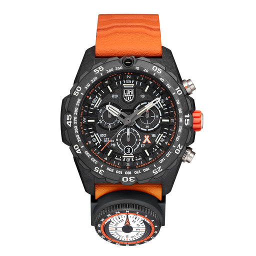 The orange rubber strap commands attention and has ridges that allow for serious traction you might need on your travels. Also included for your protection and preparation is an separate compass dial and a wealth of information available on the face of the watch. Although there is a lot going on to decipher, the markings are clear and concise and promote precision.